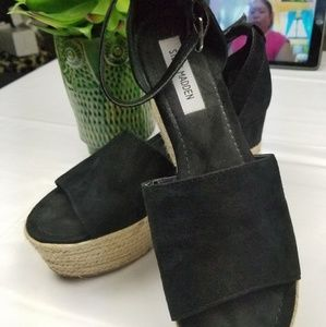 Black Suede Platform Espadrille Sandals